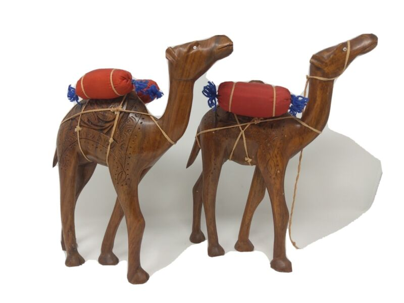 2 Wooden Camels with Hand Carvings