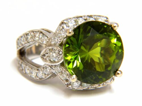 Gia Certified 12.15ct Natural Green Peridot Diamond Ring 14kt