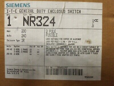 New Siemens Nr324 Double Throw Manual Transfer Switch 200 Amp 240v 1p Fusible 3r
