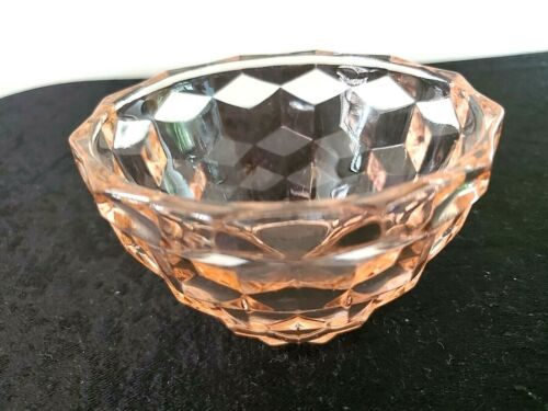 """Beautiful Vintage Pink Jeanette Cubed 4"""" Small Serving BOWL Depression Glass"""