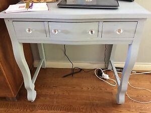 Light blue/gray desk. *drawers are decorative*