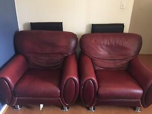 Red leather sofa Huntingdale Gosnells Area Preview