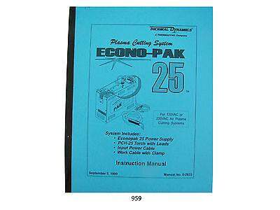 Thermal Dynamics Econopak 25 Plasma Cutter Instruction Manual 959
