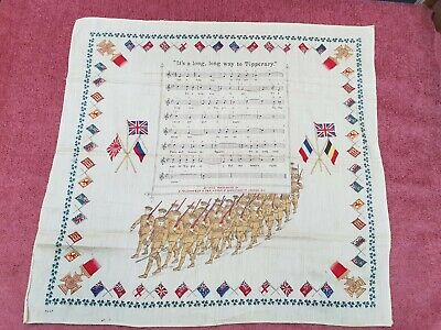 WW1 ALLIES PRINTED COTTON MUSIC LONG WAY TO TIPPERARY