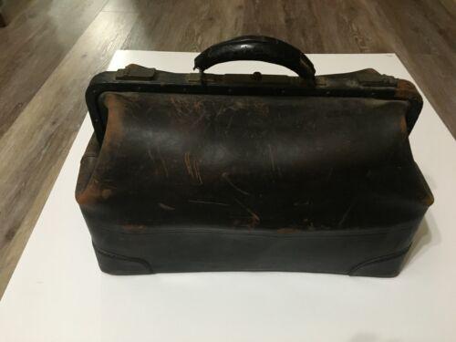 Antique Wahl Trunk Co. Cowhide Leather Brass Hinge Medical Doctor Doctor