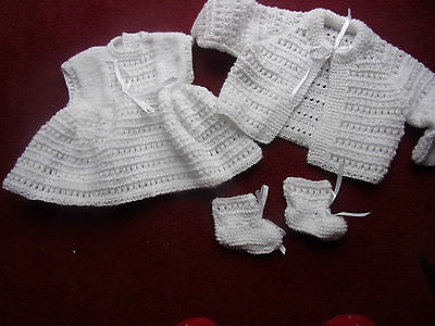 3 PCE HAND KNITTED BABY GIRL SET
