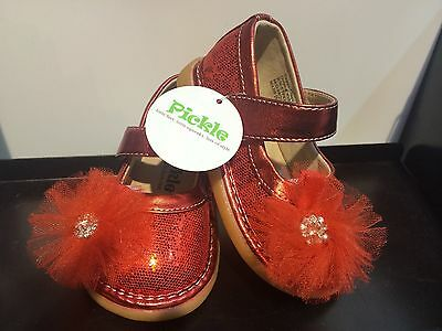 Toddler Red Sparkle Shoes (Pickle Shoes Squeaky Toddler Girls Shoes - Red)