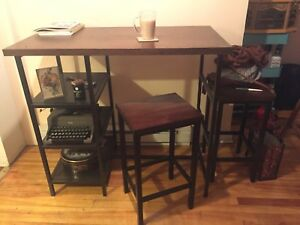 Wood and wrought iron bar table with shelves and 2 stools
