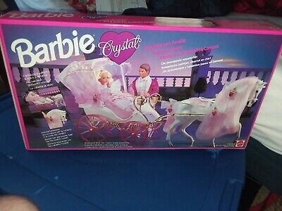 Vintage New Old Stock 1992 Barbie Crystal Horse And Carriage #10142 Mattel