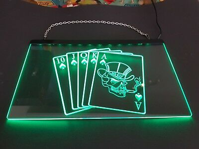 Poker LED Schild - Grün - Led Playing Cards