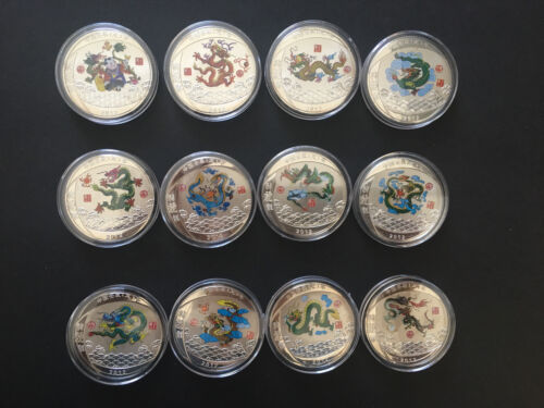 Chinese Lunar Zodiac Year of the Dragon Silver Plated Coins, Set of 12