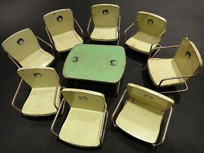 Dollhouse Furniture Mid Century Modern 8 Metal Chairs and Matching Table for sale  La Crescent