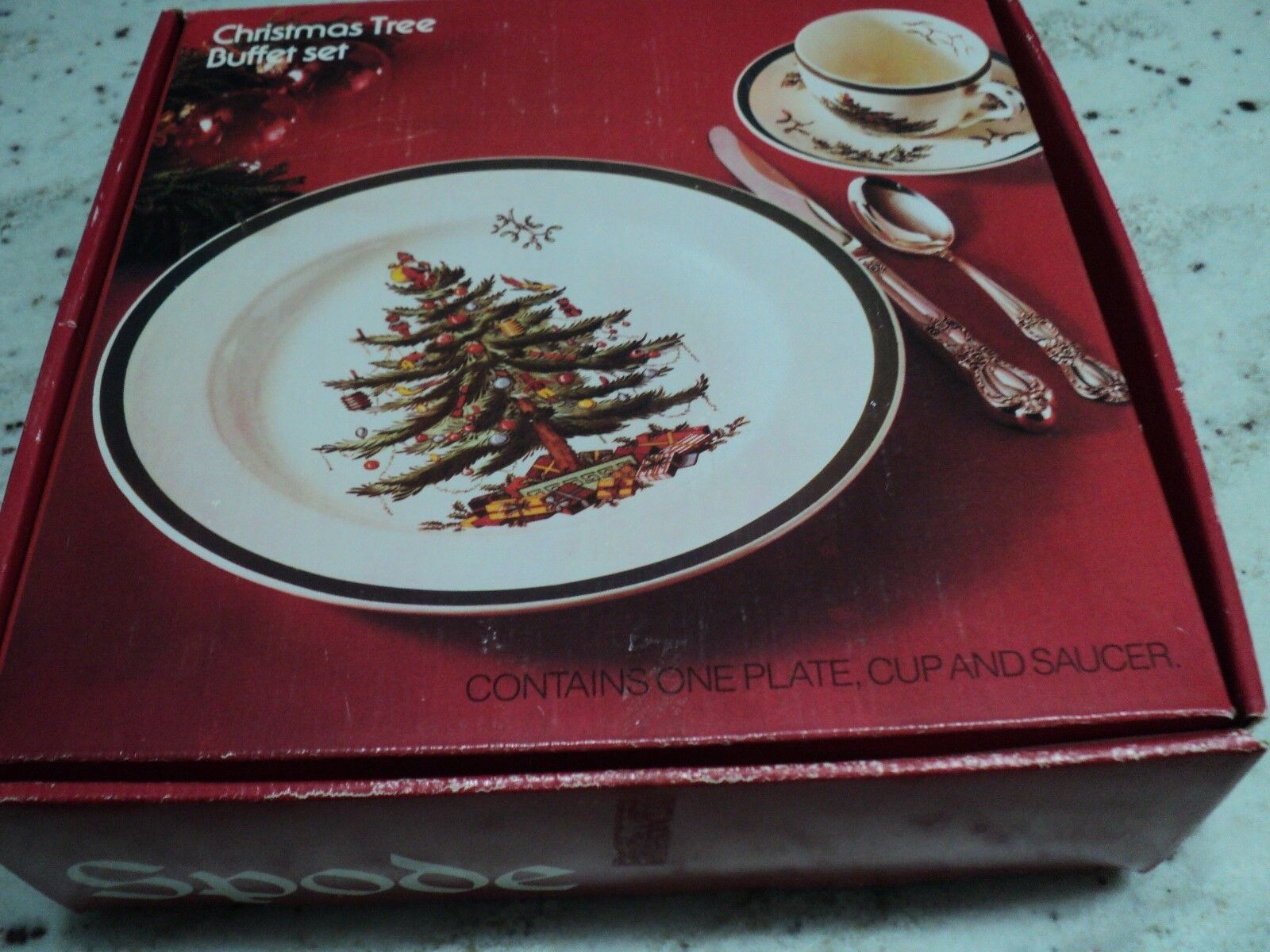 SPODE CHINA ENGLAND CHRISTMAS TREE BUFFET SET 3 PCS MINT IN A BOX  - $18.88