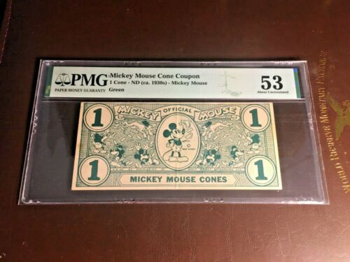 MICKEY MOUSE CONES DOLLAR GREEN PMG 53 ND (1930's) Walt Disney