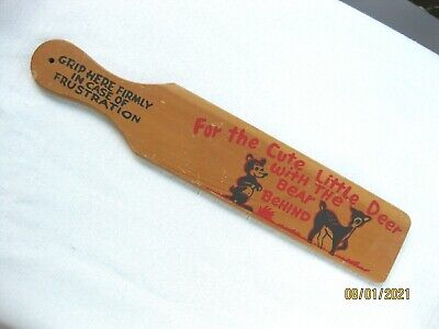 Vintage Novelty Wooden Spanking Paddle~For Cute Little Deer w the Bear Behind