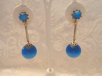 Nice Vintage Blue Color Moon Glow Dangle Screw Back Earrings
