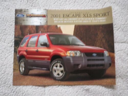 2001 FORD ESCAPE XLS SPORT SPEC SHEET SINGLE PAGE SALES BROCHURE