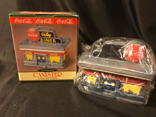 1997 Collectible Coca Cola Ceramic Canister Collection City Diner NIB