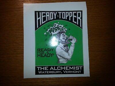 "NEW GREEN PRINT - HEADY TOPPER 3""X4"" STICKER , ALCHEMIST BREWERY, STOWE VERMONT"
