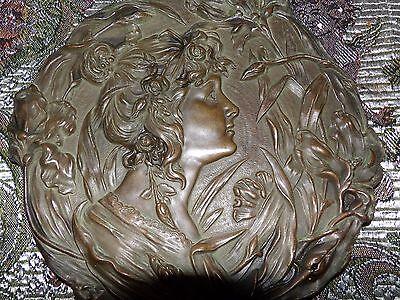 antique vintage art nouveau bronze woman plate 5 lbs.