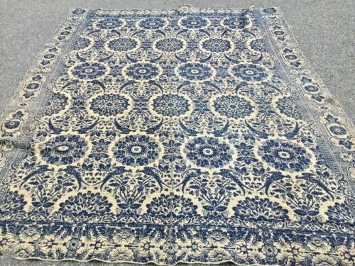 Antique 1844 HOMESPUN COVERLET 74. x. 98 inches signed with the person name.