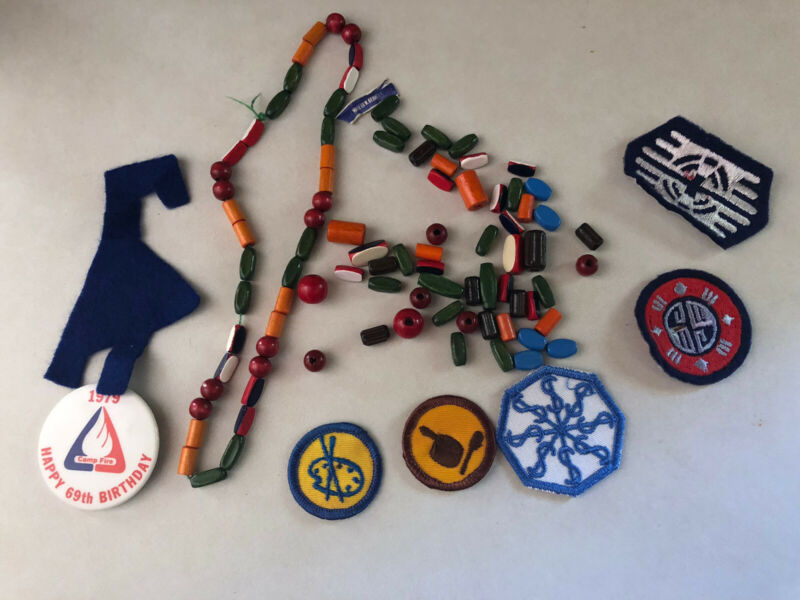 Vintage Campfire Girls Beads Patches Button