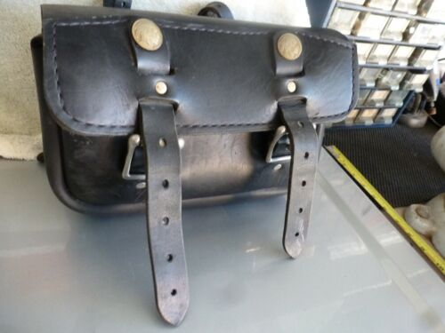 Vintage Motorcycle Handlebar Leather Bag Fork Tool Pouch Indian Snap fits Harley