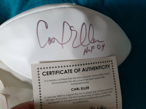 Minnesota Vikings Carl Eller  autographed football HOF Cert HOF 04 added