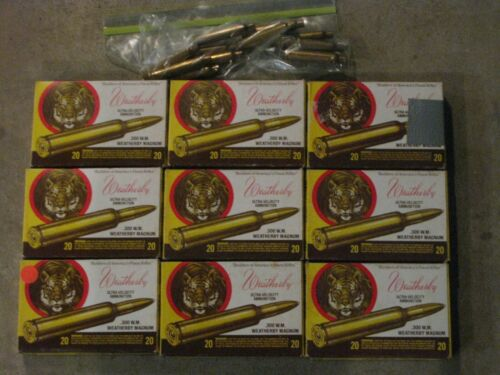 Nine Vintage Weatherby 300 Magnum Tiger Boxes with brass only