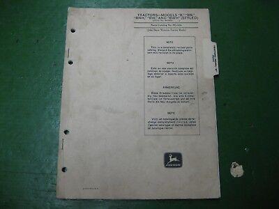 John Deere Jd B Bn Bnh Bwh Waterloo Dealer Master Parts Book
