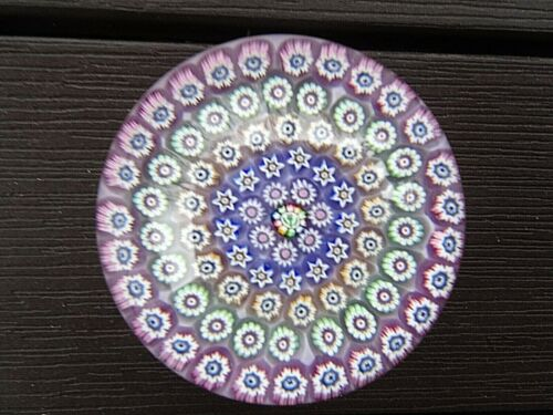 """JOHN DEACONS Glass Scotland Concentric Millefiori PAPERWEIGHT Thistle Cane 2.6"""""""