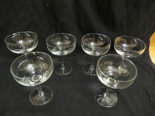 "Set of 6 Vintage Shreve Crump & Low 5"" Crystal Bowl Champagne Coupe Glasses"