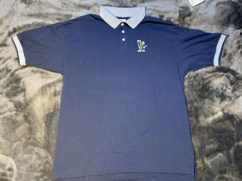 Vintage Warner Bros MARVIN THE MARTIAN Navy Blue Short Sleeve Polo Shirt L Mint