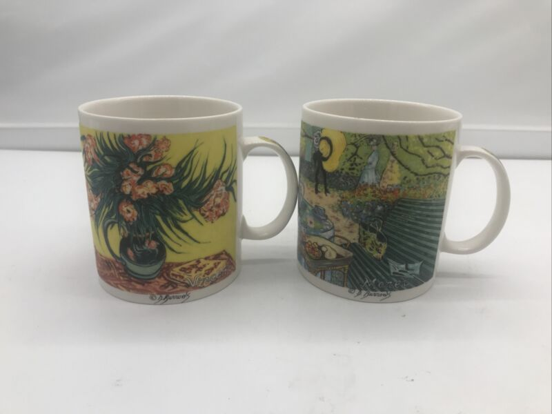 2 x Chaleur Master Impressionists Vincent Van Gogh Monet Mugs