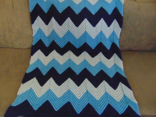 """Chevron Blue Shades Afghan 44"""" x 32"""""""