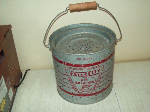 vintage Falls City Minnow Pail galvanized air breather Bait bucket U.S.A. made
