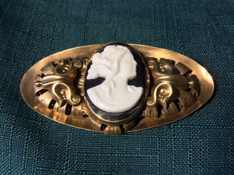 Antique 1870's VICTORIAN Pin Woman Lady CAMEO Brooch BRASS Black & White