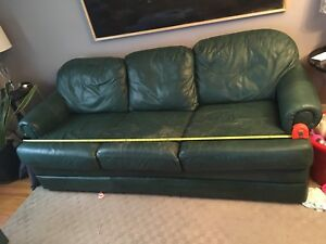 Leather couch - 3 seat sofa and chair