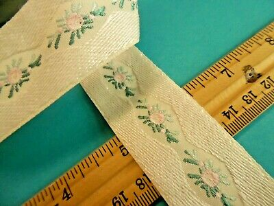 VICTORIAN LOOK RIBBON~EMBROIDERED MICRO FLORAL~1.25