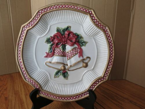 Fitz and Floyd Plate Holly Bells Christmas Handcrafted Wall Hanging Essentials
