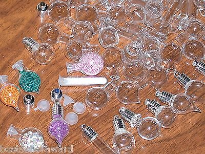 10pc Mix Lot Glass potion Halloween bottles Pendant Vial small charms necklace