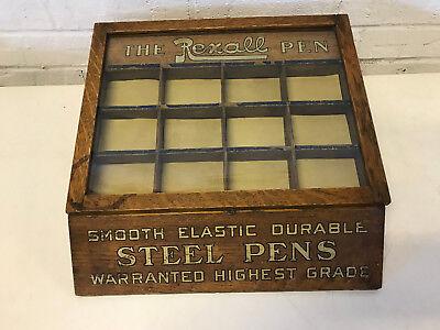 Vintage Rexall Steel Pens Smooth Durable Advertising Oak Wood Display Case