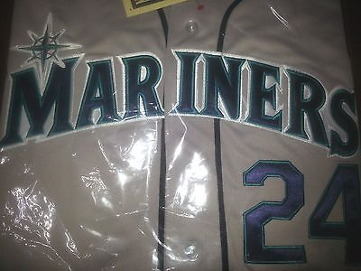 Brand New  Seattle Mariners   24 Ken Griffey Jr  Hof Patch Stitched Jersey Gray