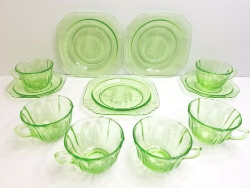 11 Parrot Green MCM Depression Federal Glass (3) Salad Plates (6) Cup (2) Saucer