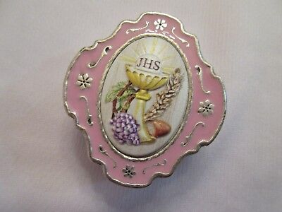 - First Communion Keepsake Box Pink & Silver Small 2 Inch Italy NEW!