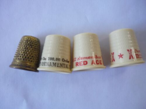 Vintage Lot of 4 Thimbles Advertising