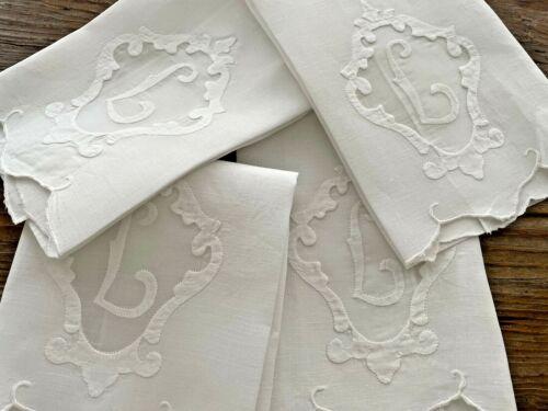 A+ Lot 4 Vintage White Linen Towels Hand Embroidered Monogram L Hemmed 14X19