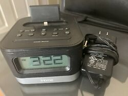 IHome iPL8BN Stereo FM Clock Radio with Lightning Dock for iPhone Charger