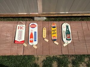 Vintage door push bar Palm press and thermometer signs Coca Cola