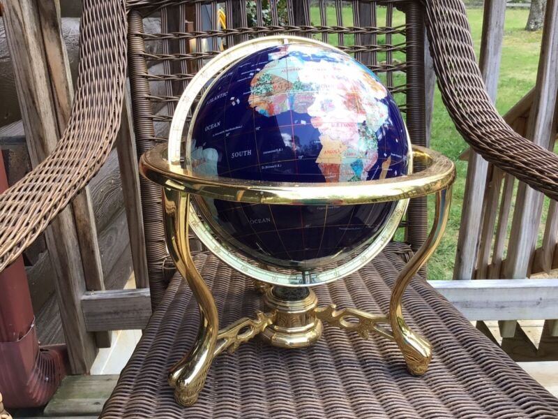Large Table Top Gemstone Globe With Compass